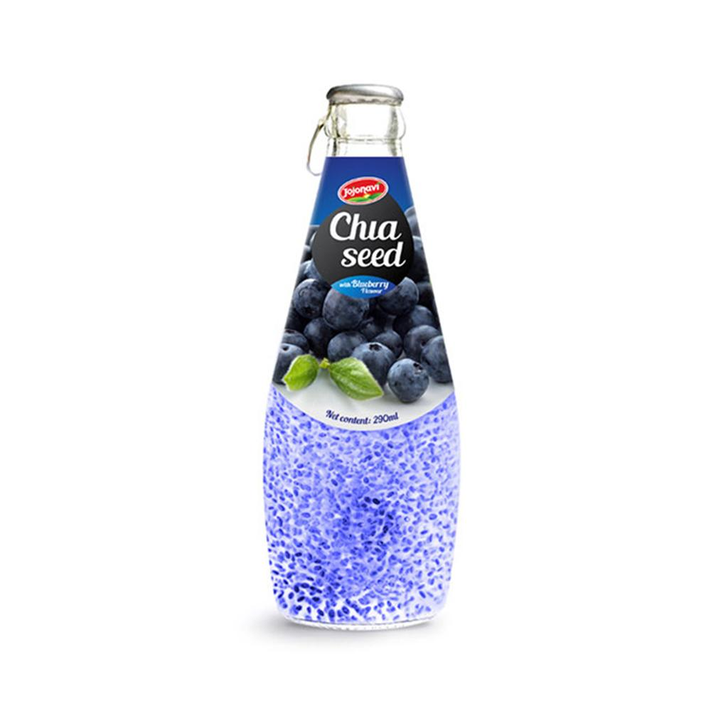 Wholesale fruit juice Chia seed drink with Blueberry flavor in Glass bottle